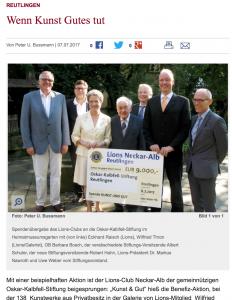 Scheckübergabe Lions Neckar-Alb Reutlingen an die Oskar-Kalbfell-Stiftung